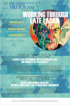 Image of Lacan's face and description of event